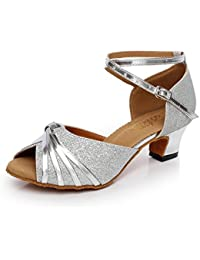 JSHOE Damen Pailletten Latin Tanzschuhe Salsa/Tango/Tee/Samba/Modern/Jazz Schuhe Sandalen High HeelsSilver-heeled6cm-UK6...