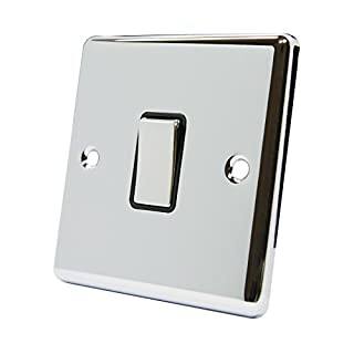 A5 Products SWI1GCCBC Light Single Polished Chrome-Classic-Black Insert-Metal Rocker Switch-1 Gang 2 Way 10 Amp, W, 10 V, Silver, Medium, Set of 100 Pieces