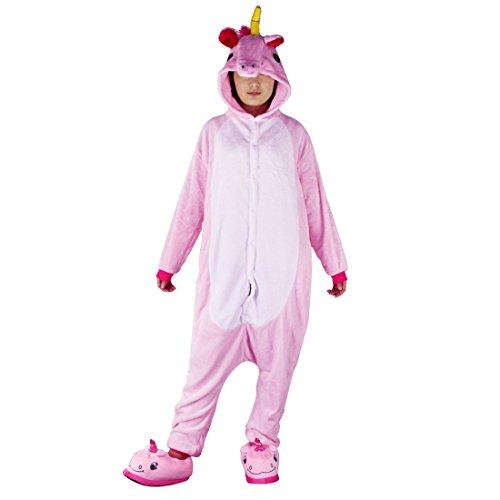 Tier Schlafanzug Erwachsene Pyjama Einhorn Schlafanzug mit Reißverschluss Tierkostüme Jumpsuit Overall Onesie Halloween Karneval Cosplay Kostüm - (Mädchen Niedlichen Kostüme Vampir)