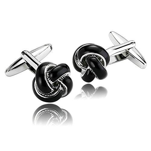 amdxd-jewelry-stainless-steel-men-cufflinks-black-polished-flower-core-cuff-links