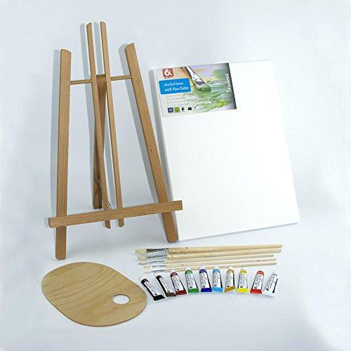 Set 500mm Easel, 30x40cm canvas, Oil Paints 10x12ml, 5 Flat Brushes, Pelette - Painting Kit by Quantum Art
