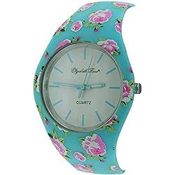Elizabeth Rose Turquoise Floral Vintage Design Ladies Quartz Watch (01/a)