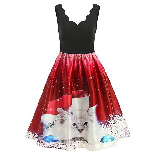 (IZHH Weihnachten Damenkleider, Mode Neuheit Welle Kragen Ärmellos Schöne Weihnachten Print Vintage Abend Party Kleid Flare A-Line Club Carnival Dress(Rot2,XX-Large))