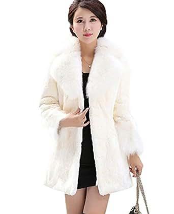 CHENGYANG Donna Giacca Lunga Pelliccia Sintetica Cappotto Invernali Maniche Lunghe Giacche (Beige, 2XL)