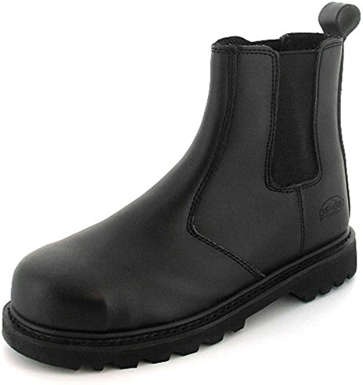 TradeSafe NEU Herren/Herren schwarz Leder Stahlkappe Sicherheits Stiefel schwarz Action Leder   UK Größen 6 12