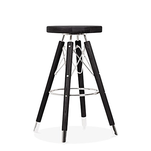 Cult Design Tabouret de Bar Moda CD3, Bois Massif, Noir 65cm