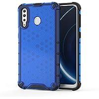 FAWUMAN Funda para Samsung Galaxy M30 Soft TPU + Duro PC Doble Parachoques Cubierta,Carcasa con Forma de Panal,Antideslizante,Funda Anticaída (Azul)