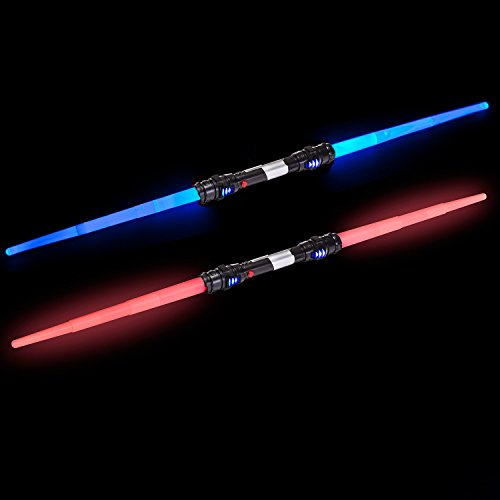 Lichtschwert mit Doppelklinge - Laserschwert mit Beleuchtung & Sound Rot