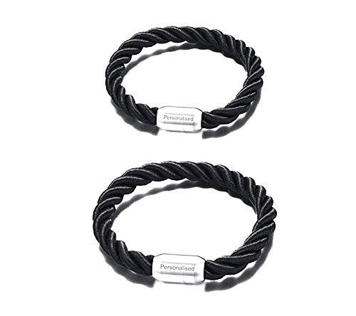 Vnox 2 Stück Personalisierte Edelstahl geflochtenes Leder Nautische Seil Paar Armband für Ihn,kostenlose Gravur