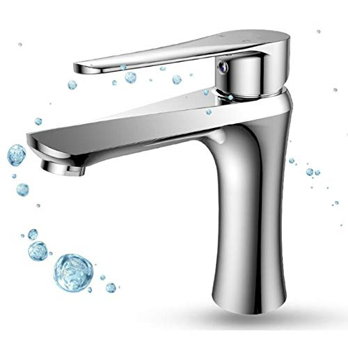 HDLWIS Commercial Single Handle Bathroom Sink Faucet, Stainless Steel Sink Cover Mounting Hole, Chrome Finish