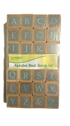 u-create 2cm alfabeto maiuscole in legno blocco timbro 28in legno e gomma, Stamper set di scrapbooking personalizzato Arts Crafts diario