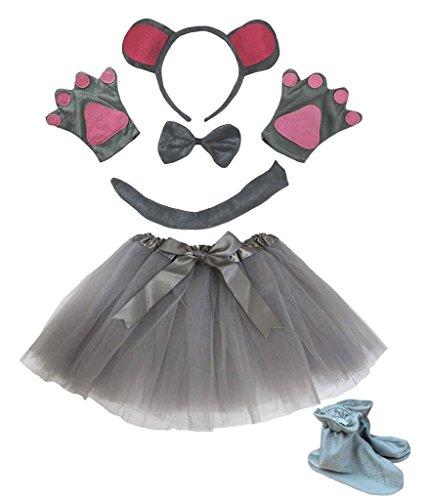 Petitebelle Stirnband Bowtie Schwanz Handschuhe Rock Schuhe 6pc Mädchen-Kostüm Einheitsgröße ()