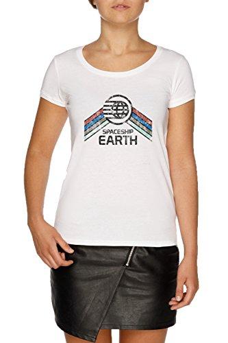 Vintage Spaceship Earth Damen Weiß T-Shirt Größe XS | Women's White T-Shirt Size XS -