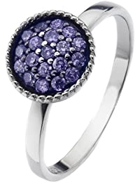 Virtue Silver Stackable VRS6005 with Multi Lavender Cubic Zirconia Circular Crown