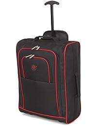Cabina aprobado varios acarreo uso de bolsas de vuelo / Equipaje mochilas bolso de la carretilla (negro / rojo)