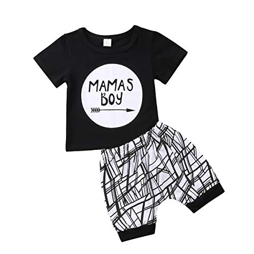 Geagodelia Baby Jungen Kleidung Set 2 PCS Kurzarm Shirt + Gestreift Shorts Mama's Boy Neugeborenes Outfit Sommer Bekleidungsset, Schwarz, 0-6 Monate (Baby Jungen Kleidung 0-3 Monate)