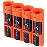 Storacell By Powerpax SlimLine 18650 Battery Caddy, Orange, Holds 4 Batteries
