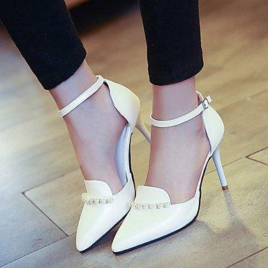 LvYuan Damen-Sandalen-Lässig-Leder-Stöckelabsatz-Komfort-Schwarz Blau Rosa Weiß White