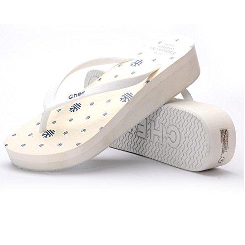 Estate Sandali Pantofole in gomma Donne Pantofole in Europa Scarpe antisdrucciolo da spiaggia Bianco Blu Verde Rosa Colore / formato facoltativo Bianca