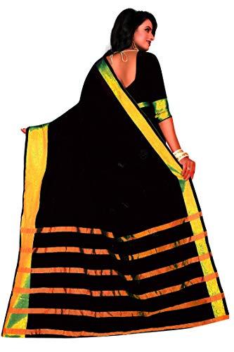 Perfectblue Cotton Silk Saree with Blouse Piece (Pb0Black Goli_Black_Free Size)