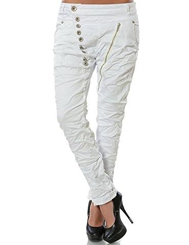 Damen Boyfriend Jeans Hose Reißverschluss Knopfleiste (weitere Farben) No 14145, Farbe:Weiß;Größe:40 / L