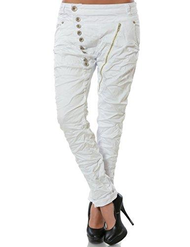 Damen Boyfriend Jeans Hose Reißverschluss Knopfleiste (weitere Farben) No 14145, Farbe:Weiß;Größe:38 / M