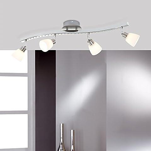 Barra de techo spotlight - 4 lámparas - níquel mate y cromo - Incluso LED 27 x 0,06 Watt y G9 4 x 33 watt