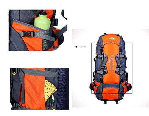 Clode® Outdoor Oxford Wanderrucksäcke Trekkingrucksäck Wandern Klettern Rucksack Freizeit Wasserdichte, 80 Liter,80 x 38 x 25cm Orange