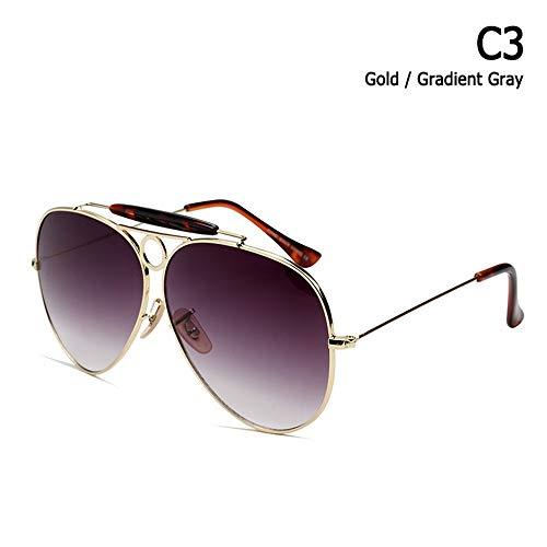 ZHOUYF Sonnenbrille Fahrerbrille Mode Shooter Stil Vintage Aviation Sonnenbrillen Metall Kreis Brand Design Sonnenbrille Oculos De Sol Mit Kapuze, C.