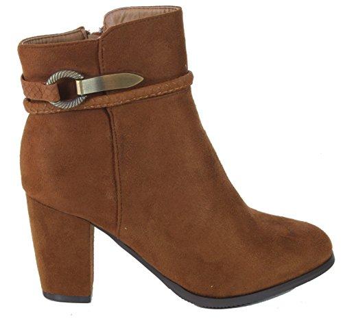 Lollove - Damen Ankle Boots Stiefeletten Absatz Wildleder-Look Camel