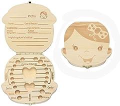 Idea Regalo - BlueSnail scatola in legno organizer per denti di bambini o bambine, per conservare i denti da latte e registrare le informazioni sui denti(Versione Italiana)