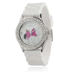 Disney Minnie Mouse Femme Ice Cristaux Rose Bow Blanc Caoutchouc Bet Montre M...