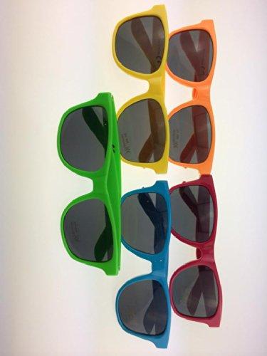 Wayfarer Vintage Hipster Nerd Brille mit knalligen Faben 5 FArben BACARDI (Alle 5)