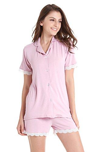 Damen Kurze Nachtwäsche Stricken Pyjama Set Kurzarm Loungewear Nachtwäsche mit Spitzenbesatz (Rosa, M)
