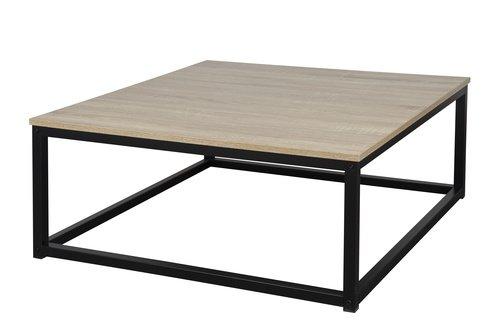 Homexperts Couchtisch JULIA / Desginer Beistelltisch mit Platte in Sonoma Eiche Optik / Gestell Metall Schwarz pulverbeschichtet / 80x80x34cm (BxTxH) -