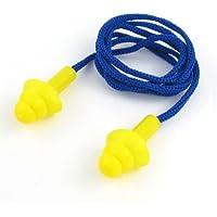 sourcingmap® Tappi per orecchie in silicone giallo con cordino in nylon blu lungo 56cm per il nuoto