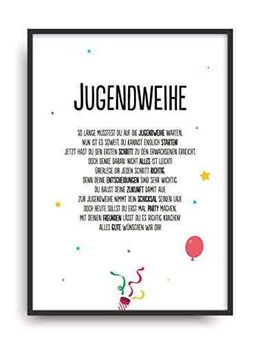 Geschenk Karte JUGENDWEIHE Kunstdruck Jugend Feier Kind Auszeichnung Bild ohne Rahmen DIN A4 (Jugend-rahmen)