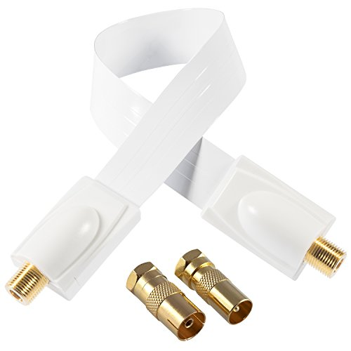 Poppstar 1x 28cm SAT Fensterdurchführung (Koax Kabel sehr flach 0,2mm), 2x F-Stecker (1x auf IEC Antennenstecker, 1x Buchse), für Fenster - Türen, Kontakte vergoldet, weiß