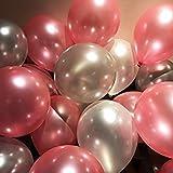 #9: Foredecor 52 Hd Metallic Balloons (Silver Pink)