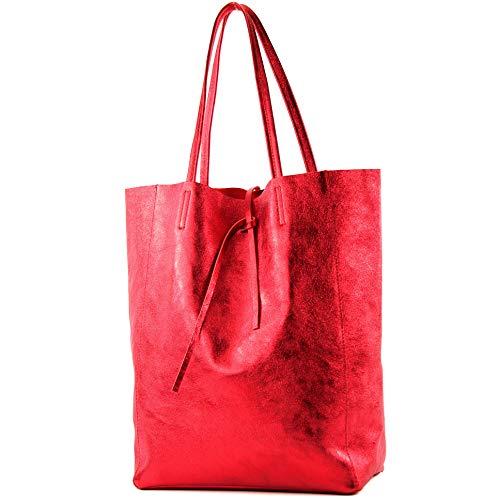 (modamoda de - T163 - Ital. Shopper Schultertasche aus Leder, Farbe:Rot-Metallic)