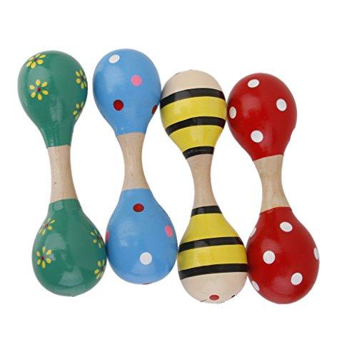 MagiDeal Random 1pc Baby Toddler Wooden Maraca Shaker Rattles 15cm