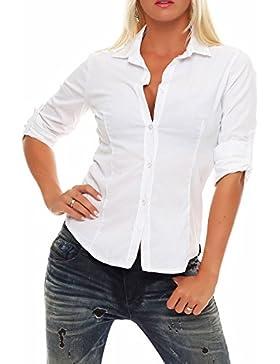 malito Blusa Camisera Clásica-Look V-Neck 3/4 Boyfriend-Style Casual Botones Largo 8030 Mujer