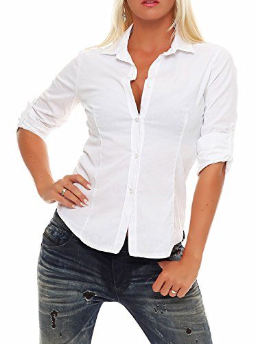Malito Damen Bluse Klassisch | Tunika mit ¾ Armen | Blusenshirt Auch Langarm Tragbar | Elegant – Shirt 8030 (Weiß, M) (Befestigt Bluse)