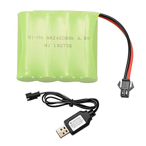 Kreema AA Ni-MH 4.8 V / 6.0 7.2 2400 mAh Batteria di Ricambio + Cavo USB per Caricabatterie Porta Giocattoli Modello Barca da Auto Strumenti elettrici Illuminazione