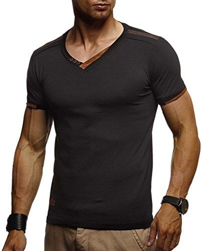 LEIF NELSON Herren Sommer T-Shirt V-Ausschnitt Slim Fit Baumwolle-Anteil | Moderner Männer T-Shirt V-Neck Hoodie-Sweatshirt Kurzarm lang | LN1355 Schwarz Medium