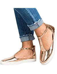 Sandalias Talón Plano para Mujer, QinMM Zapatos Alpargatas Mocasines Deportivos Transpirables de Verano Zapatillas