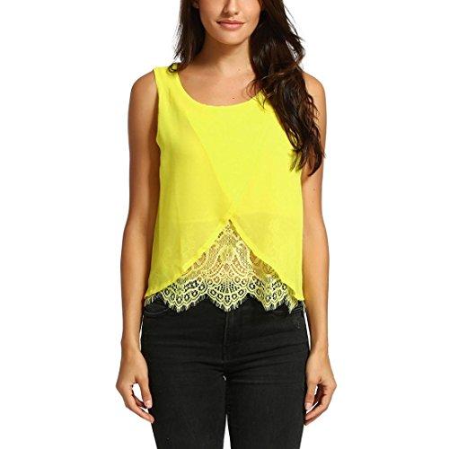 OSYARD Damen Chiffon Spitze Weste Top Sleeveless beiläufige Tank Bluse Sommer Tops T-Shirt(EU 46/XL, Gelb)