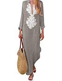 Rawdah- vestitini donna estivi Monopezzi e tutine da donna Cerimonia Cocktail Stampato Manica lungaV-collo Maxi Vestito Diviso Orlare cascante Kaftan Vestito lungo