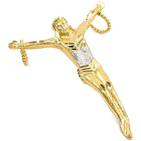 Donne Collana Pendente 10 Ct Giallo Oro Senza Croce Crocifisso Large (Viene Fornito Con Una Catena Da 45cm)