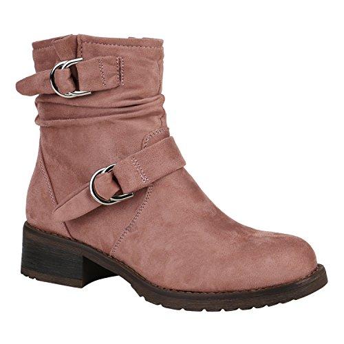 Damen Biker Boots Stiefeletten Stiefel Schnallen Gefüttert Schuhe 148858 Rosa Schnalle Schnallen 39 Flandell